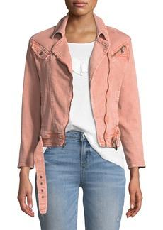 Paige Denim Sivan Zip-Front Belted Denim Jacket