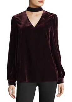 Paige Denim Tamar Choker V-Neck Long-Sleeve Velvet Blouse