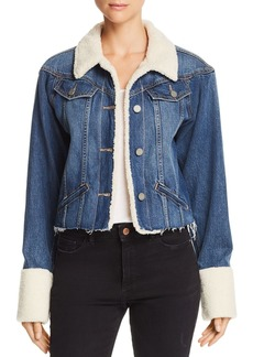 Paige Denim PAIGE Tori Sherpa-Trimmed Denim Jacket in Monrose