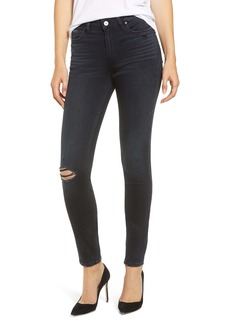 PAIGE Transcend - Hoxton High Waist Ripped Ultra Skinny Jeans (Black Lava Destructed)