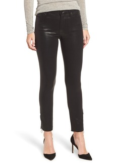 Paige Denim PAIGE Transcend - Hoxton High Waist Zip Ankle Peg Jeans (Black Fog Luxe Coating)