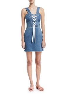 Paige Denim Tule Lace-Up Sleeveless Denim Dress