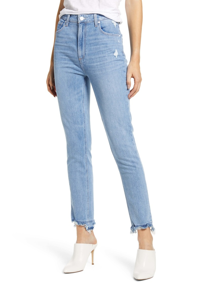 PAIGE Vintage - Sarah High Waist Slim Straight Leg Jeans (Mako Distressed)