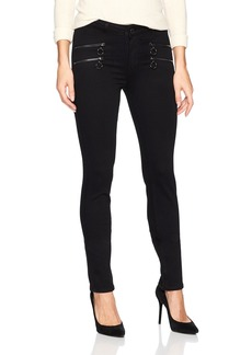 PAIGE Women's High Rise Kylo Jeans Black Shadow with O Ring Zips