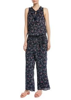 Paige Denim Paletta Floral-Print Sleeveless Ruffle Jumpsuit