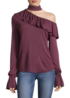 Paige Denim Rayden Choker One-Shoulder Blouse