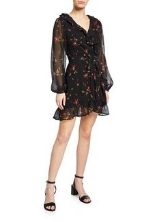 Paige Shawna Floral-Print Mini Wrap Dress