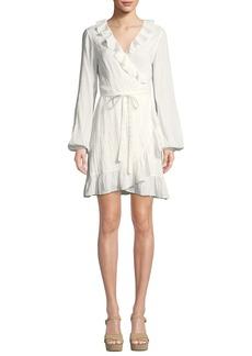 Paige Denim Shawna Long-Sleeve Ruffle Wrap Dress