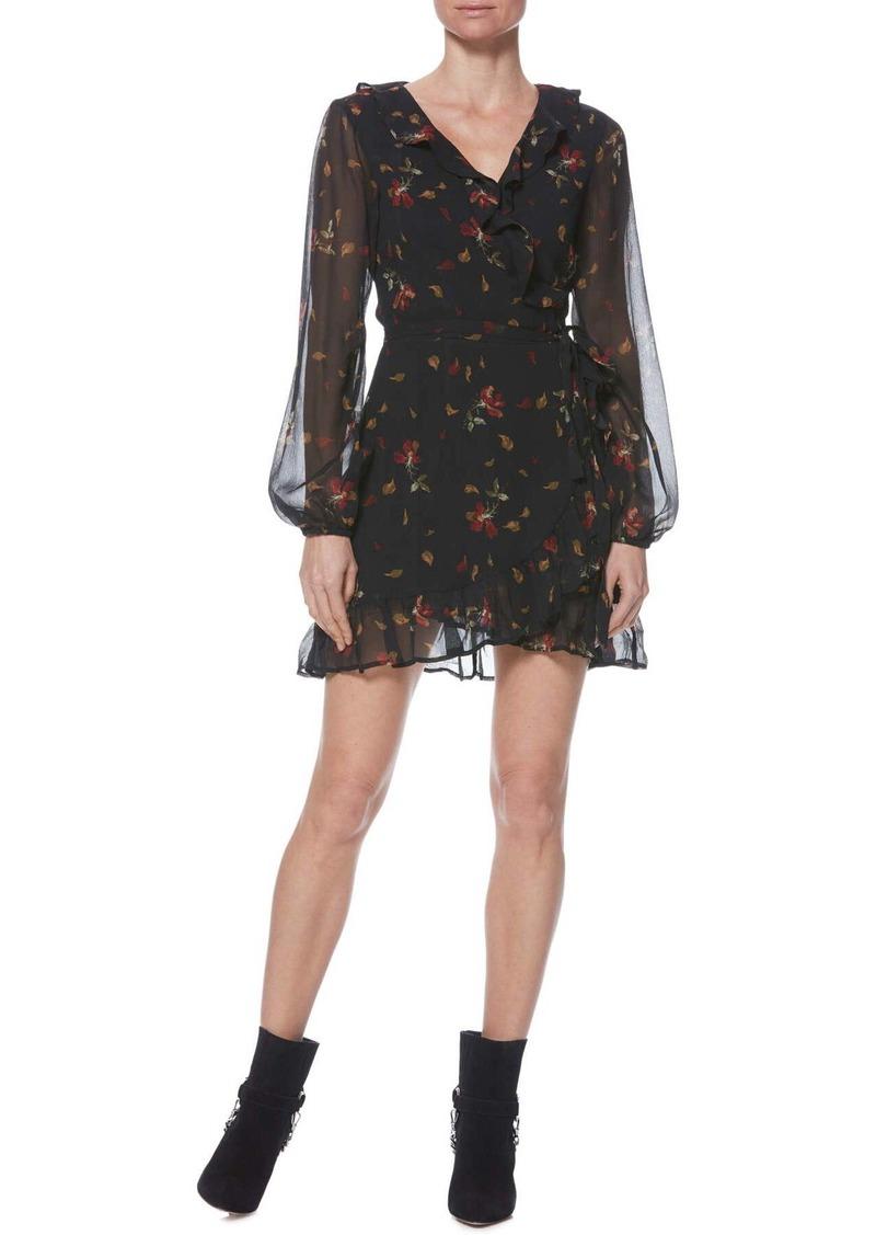 Paige Shawna Silk Ruffle Detail Wrap Mini Dress