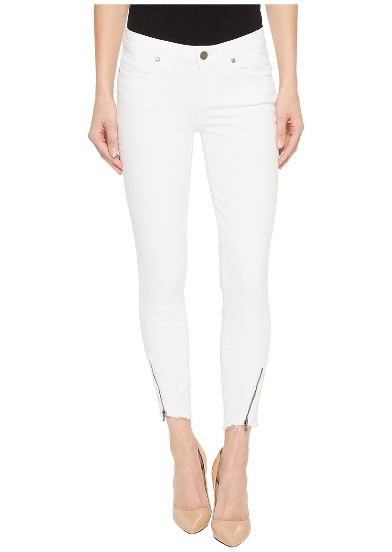Paige Verdugo Crop w/ Angled Zip and Raw Hem in Crisp White