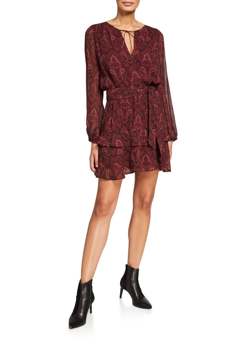 Paige Doah Paisley-Print Long-Sleeve Dress