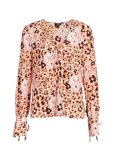 Paige Giulana Leopard Print Silk Top