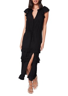 Paige Illyria Ruffle Trim Midi Dress