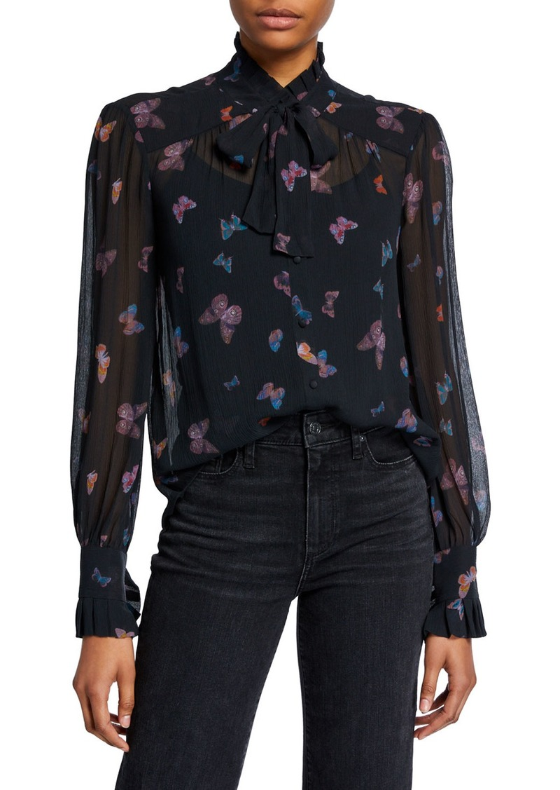 Paige Leonetta High-Neck Silk Butterfly Blouse