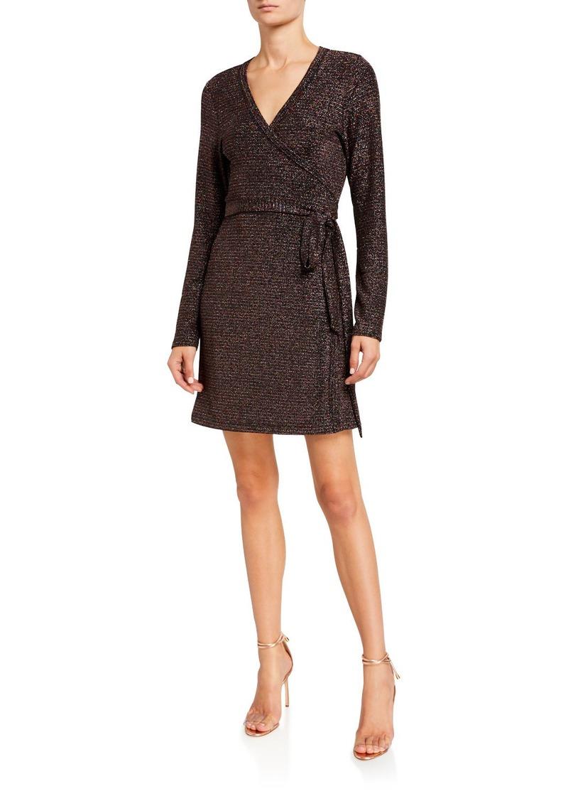 Paige Lucielle Metallic Long-Sleeve Wrap Dress