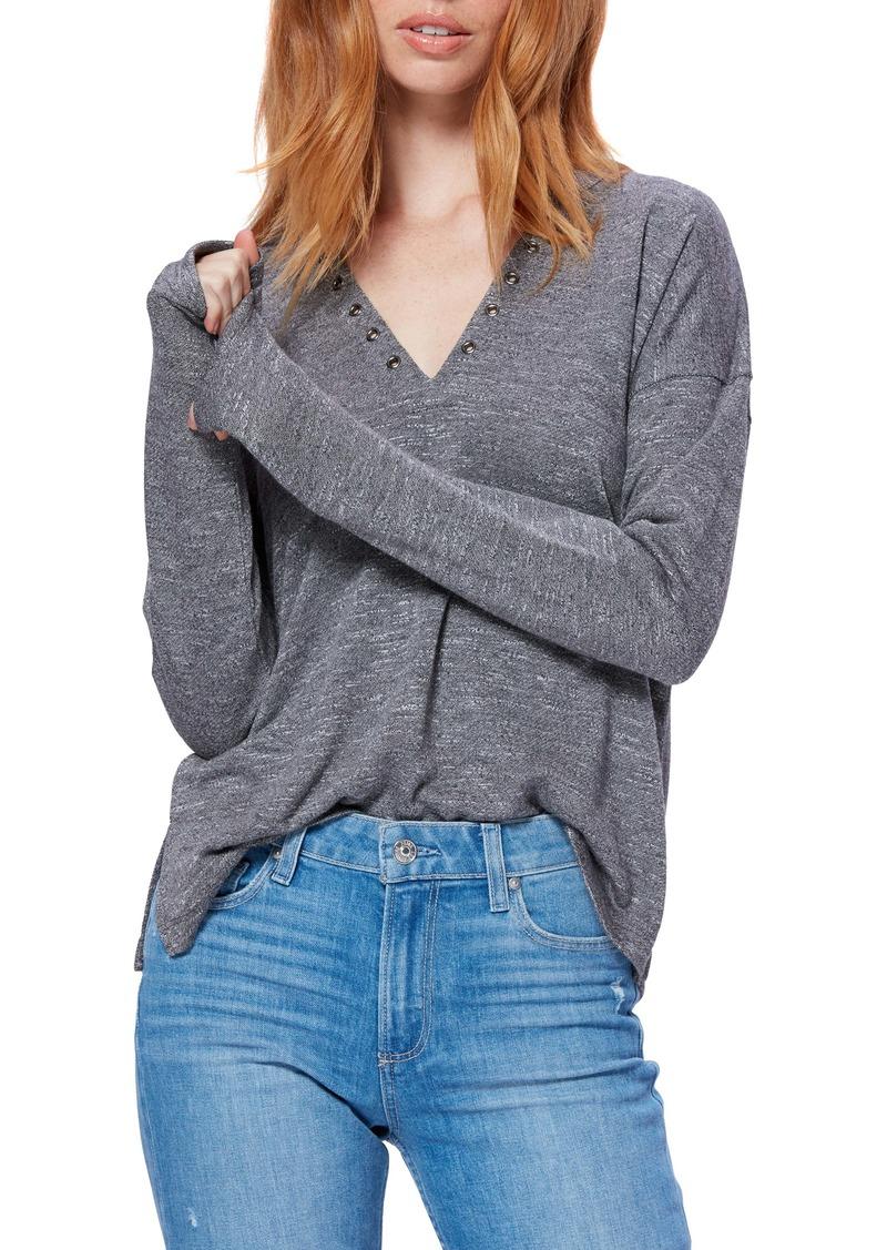 PAIGE Ashton Grommet V-Neck Long Sleeve Top