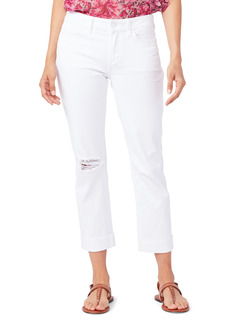 PAIGE Brigitte Ripped Raw Cuff Boyfriend Jeans (White Wave Destructed)
