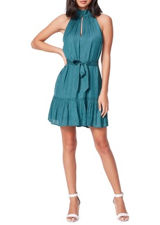 PAIGE Cayman Sleeveless Tie Waist Satin Jacquard Minidress