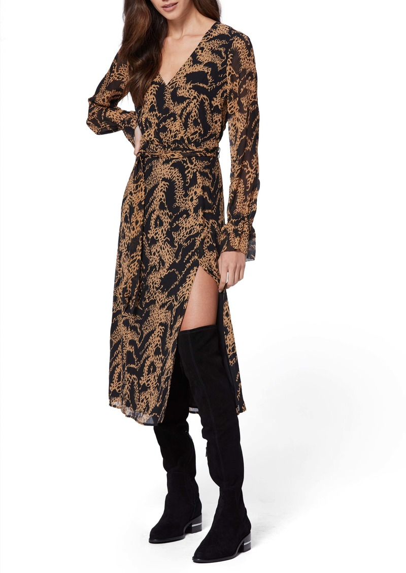 PAIGE Chamomile Long Sleeve Silk Georgette Midi Dress