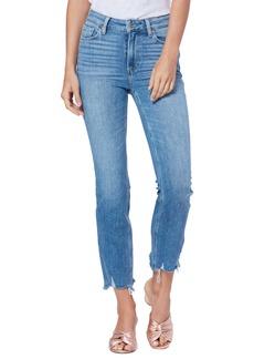 Paige Cindy High Waist Destroyed Hem Straight Leg Jeans (Mel)