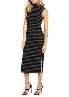 PAIGE Danisha Metallic Stripe Mock Neck Midi Dress