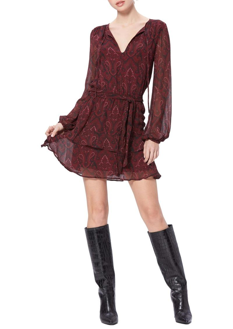 PAIGE Doah Paisley Long Sleeve Silk Minidress