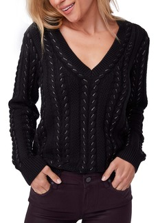 PAIGE Dorthea Metallic V-Neck Sweater