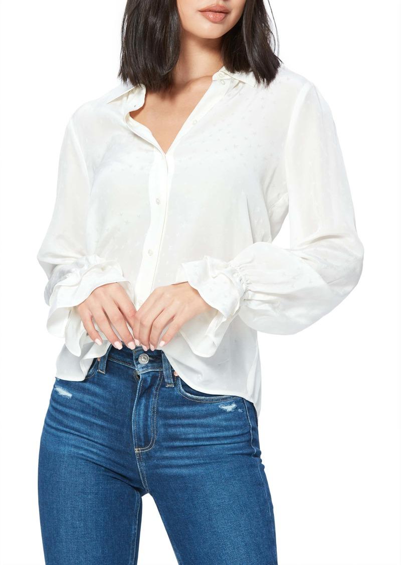 PAIGE Giorgia Ruffle Cuff Silk Blouse