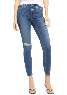 PAIGE Hoxton Distressed Ankle Skinny Jeans (Blaine Destructed)