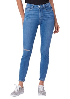 PAIGE Hoxton Distressed High Waist Ankle Skinny Jeans (Views Destructed)