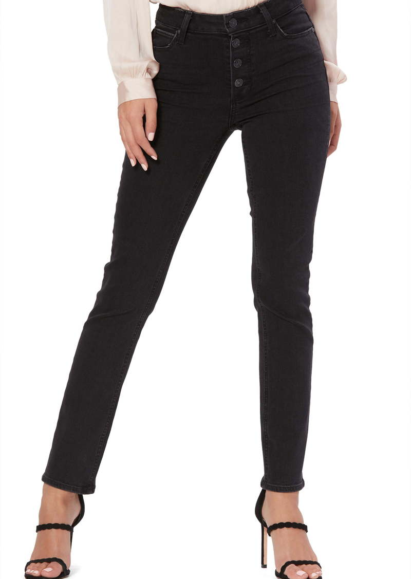 PAIGE Hoxton Exposed Button High Waist Ankle Skinny Jeans (Starlit Black)