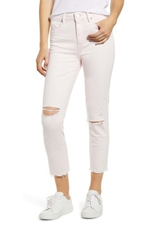 PAIGE Hoxton High Waist Raw Hem Crop Slim Jeans (Vintage Pink Mirage Destructed)