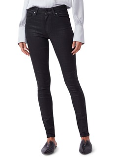 PAIGE Hoxton High Waist Ultra Skinny Jeans (Black Croc Luxe Coating)