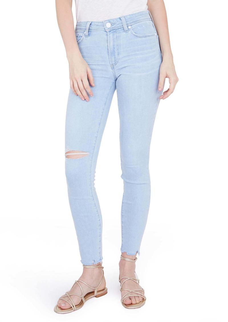 PAIGE Hoxton Ripped High Waist Ankle Skinny Jeans (Ryman)