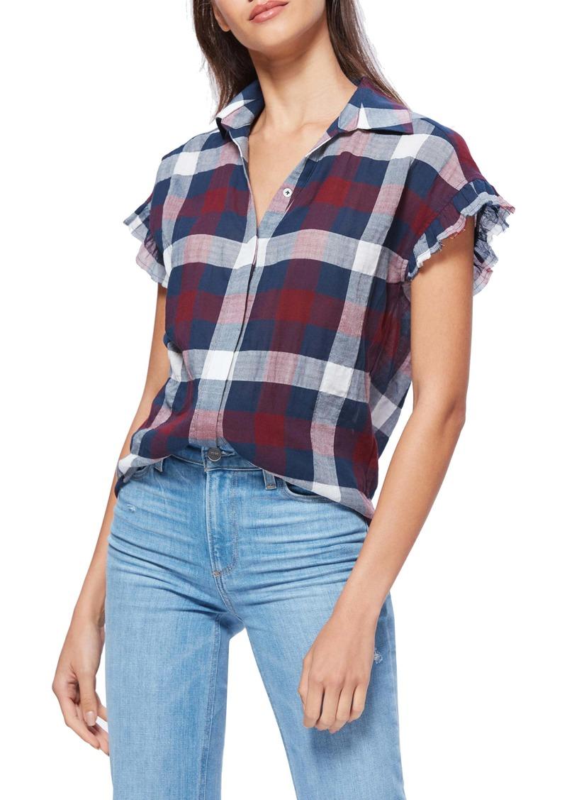 PAIGE Jaylin Raw Edge Ruffle Sleeve Shirt