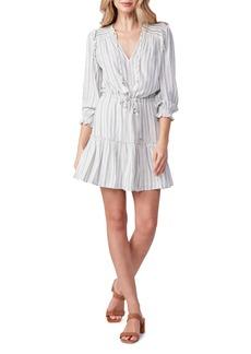 PAIGE Kaylynn Stripe Tie Neck Ruffle Dress