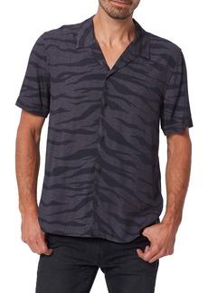 PAIGE Landon Slim Fit Zebra Print Short Sleeve Button-Up Camp Shirt