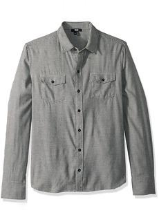 PAIGE Men's Everett Brushed Cotton Button Down Shirt  M