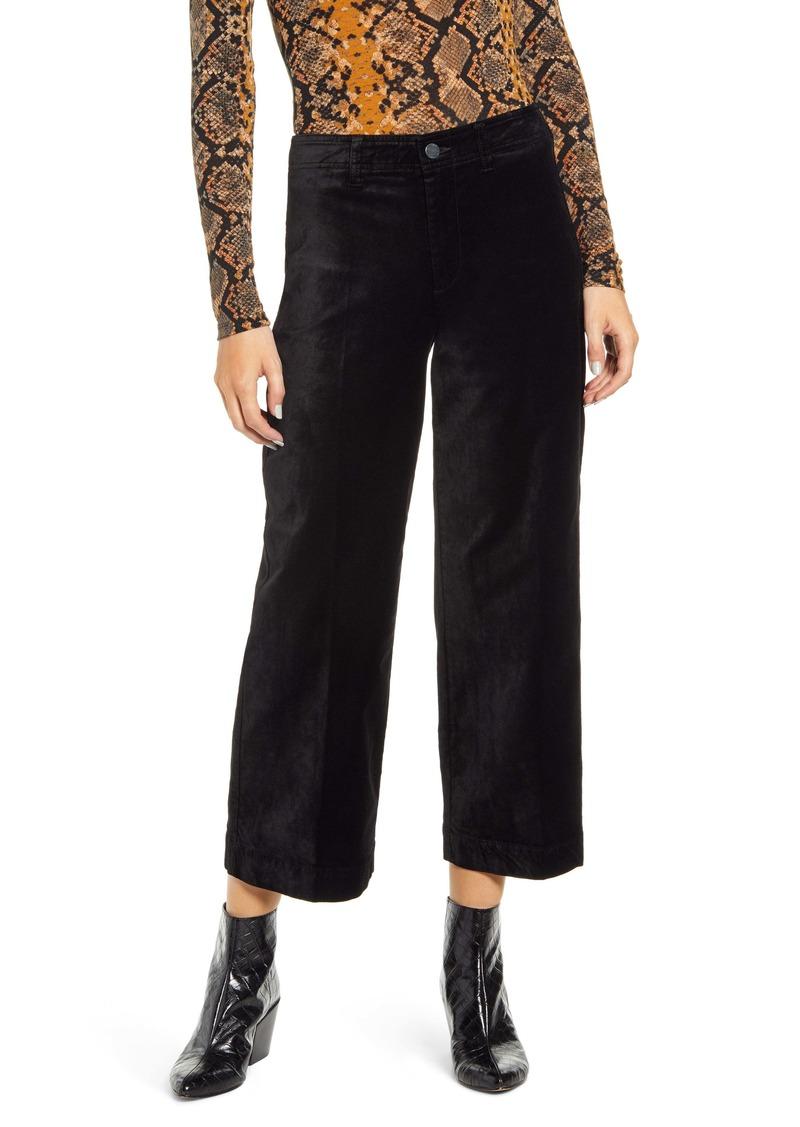 PAIGE Nellie High Waist Crop Culotte Jeans (Black)