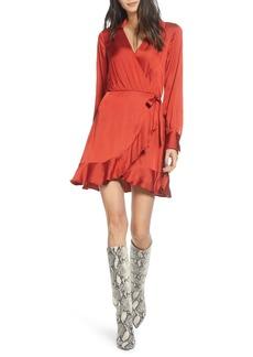 Paige Parisa Wrap Front Long Sleeve Satin Minidress