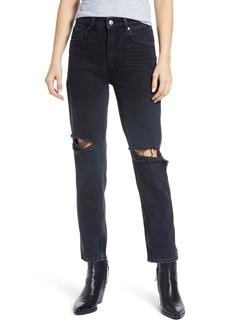 PAIGE Sarah High Waist Straight Leg Jeans (Black Meadow Destructed)