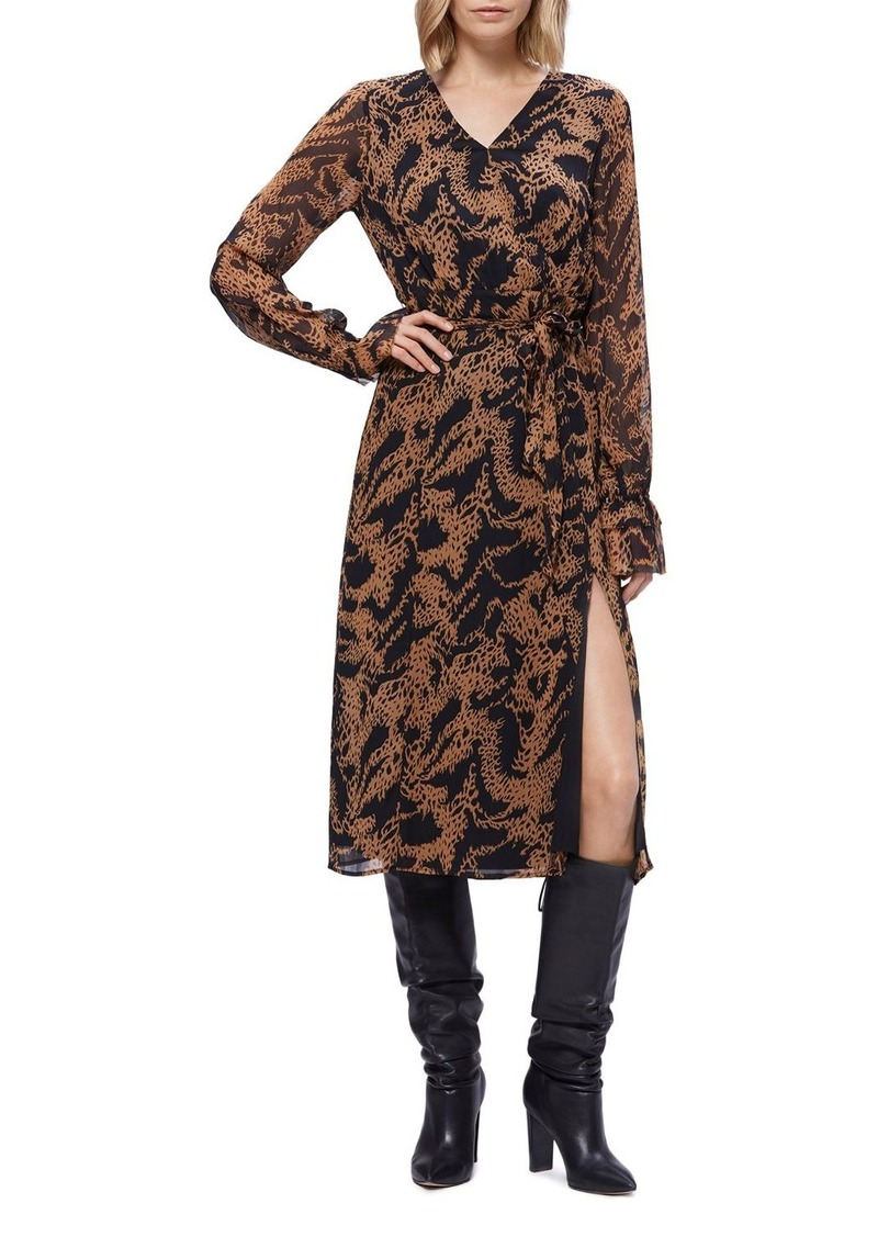 PAIGE Silk Printed Faux-Wrap Dress