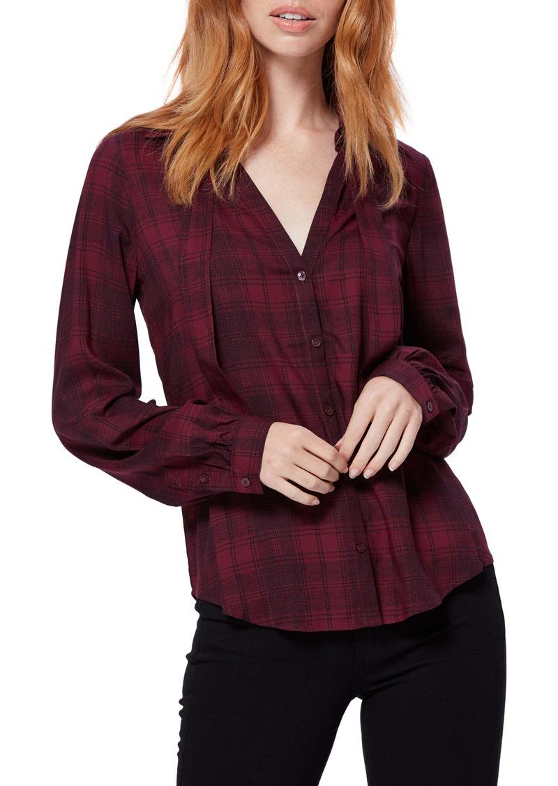 PAIGE Taryn Tie Neck Plaid Shirt