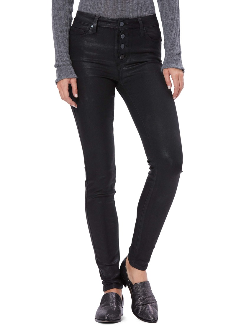PAIGE Transcend - Hoxton Coated High Waist Ultra Skinny Jeans (Black Fog Luxe Coating)