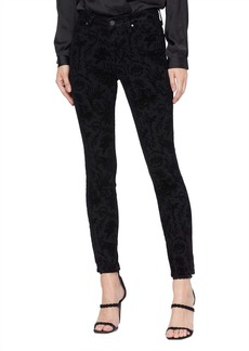 PAIGE Transcend Hoxton High Waist Ankle Skinny Jeans (Black Flocked Versailles)