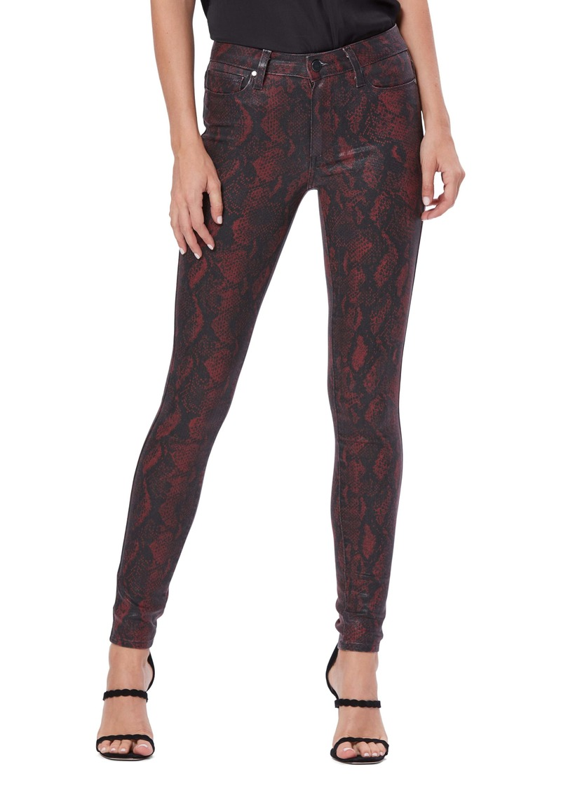 PAIGE Transcend - Hoxton High Waist Ultra Skinny Jeans (Coated Red Snake)