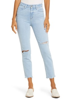 PAIGE Transcend Hoxton Ripped High Waist Ankle Slim Jeans (Sunkissed Destructed)