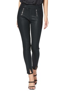 PAIGE Transcend Talita High Waist Crop Skinny Jeans (Black Fog Luxe Coated)