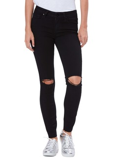 Paige Transcend Verdugo Ripped Ankle Skinny Jeans (Black Domino Destructed)