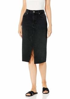 PAIGE Women's Meadow Transitional Black MIDI Skirt W/Vintage Pocket Details
